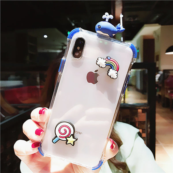3D Whale Phone Case for iphone 6/6s/6plus/7/7plus/8/8P/X/XS/XR/XS Max JK1564