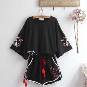 Summer Black Fox T-shirt and Shorts Set JK1783