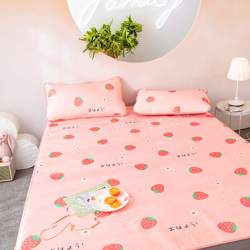 Kawaii Strawberry Ice Silk Bed Mat JK1209