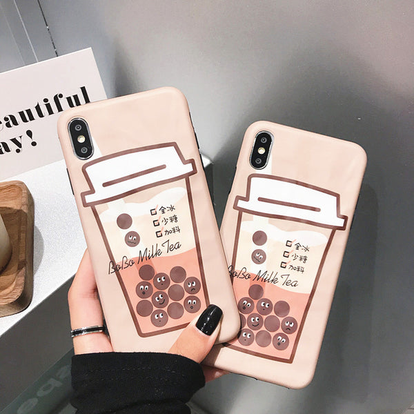 Cute Bubble Tea Phone Case for iphone 6/6s/6plus/7/7plus/8/8P/X/XS/XR/XS Max JK1593