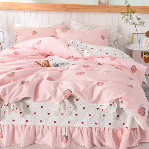 Kawaii Strawberry Four Piece-suit Bedding JK1545