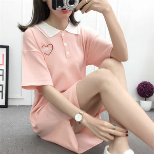 Fashion Polo Collar Knit T-shirt Dress JK1605