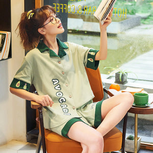Cute Avocado Summer Pajamas Suit JK2129