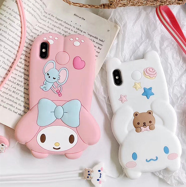 Kawaii Cinnamoroll and My Melody Phone Case for iphone 6/6s/6plus/7/7plus/8/8P/X/XS/XR/XS Max JK1719