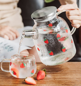 Kawaii Strawberry Glass Water Kettle and Cup JK2316