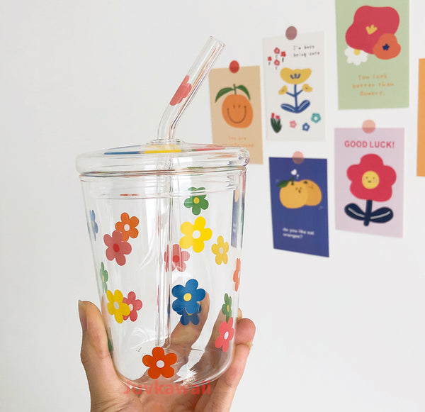 Fashion Flowers Glass Water Cup JK2049