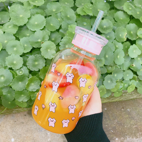 Lovely Pigs Glass Water Bottle  JK1482