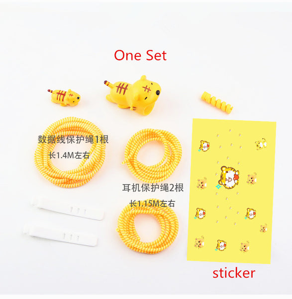 Tiger Iphone Charger Stickers and Date Wire Protector Set JK1145