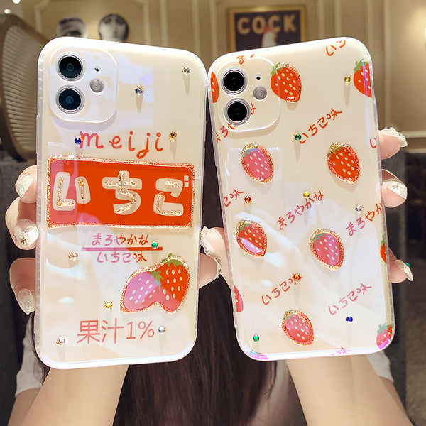 Cute Strawberry Phone Case for iphone7/7plus/8/8P/X/XS/XR/XS Max/11/11 pro/11 pro max JK2394