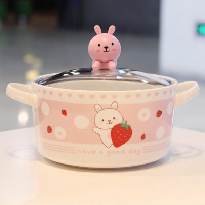 Rabbit and Bear Printed Bowl JK2432