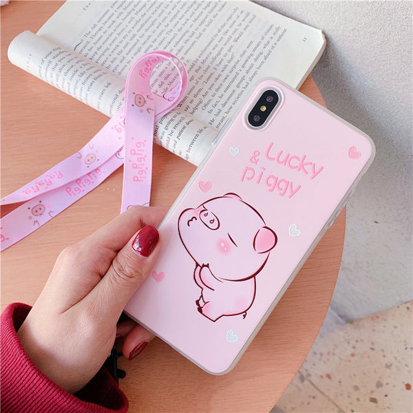Lucky Pig Phone Case for iphone 6/6s/6plus/7/7plus/8/8P/X/XS/XR/XS Max JK1411