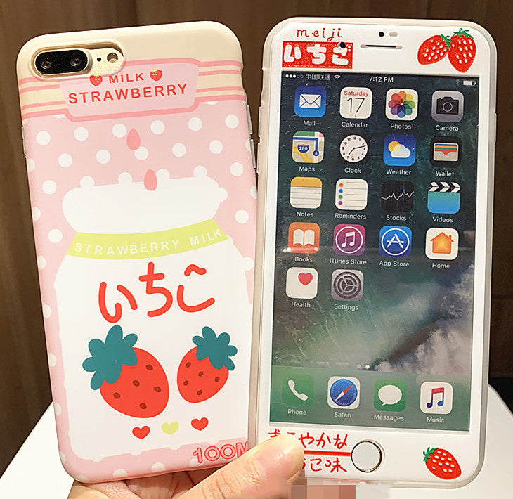 Milk Strawberry Phone Case for iphone 6/6s/6plus/7/7plus/8/8P/X/XS/XR/XS Max JK1473