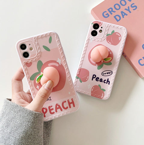 Kawaii Peach Phone Case for iphone7/7plus/8/8P/X/XS/XR/XS Max/11/11 pro/11 pro max/12/12pro/12mini/12pro max JK2670