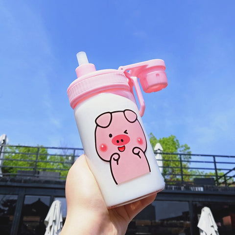 Kawaii Pigs Glass Water Bottle  JK1608