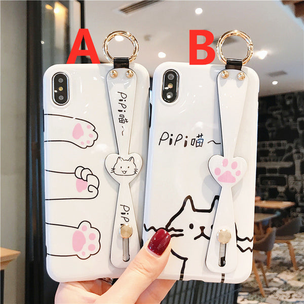 Lovely Cats Wristband Phone Case for iphone 6/6s/6plus/7/7plus/8/8P/X/XS/XR/XS Max JK1755