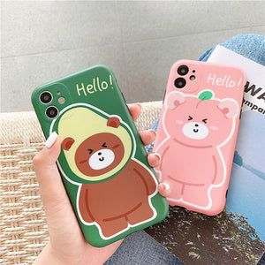 Cute Bear Phone Case for iphone7/7plus/8/8P/X/XS/XR/XS Max/11/11pro/11pro max JK2095
