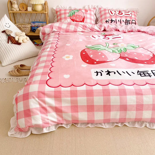 Kawaii Strawberry Bedding Set JK1918