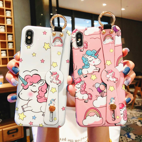 Cartoon Unicorn Wristband Phone Case for iphone 6/6s/6plus/7/7plus/8/8P/X/XS/XR/XS Max JK1442