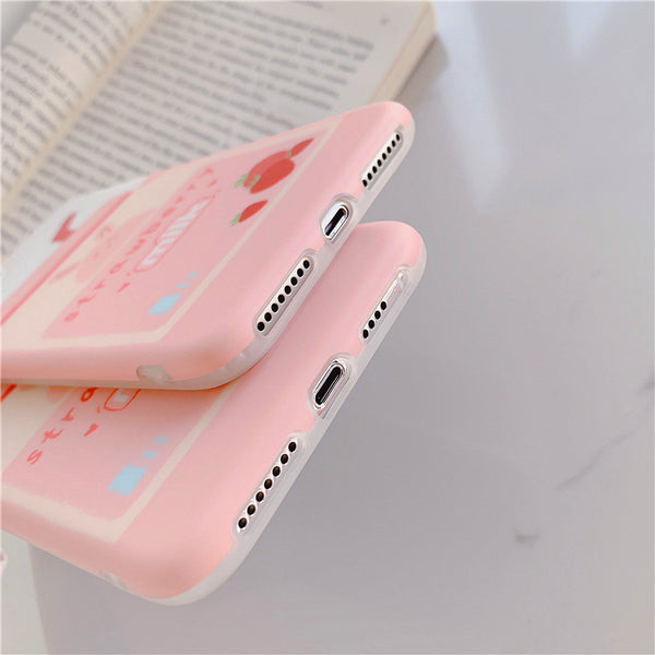 Lovely Strawberry Milk Phone Case for iphone 6/6s/6plus/7/7plus/8/8P/X/XS/XR/XS Max JK1746