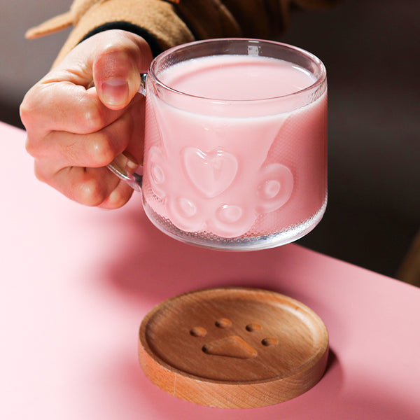 Lovely Cat Paw Glass Cup JK2291