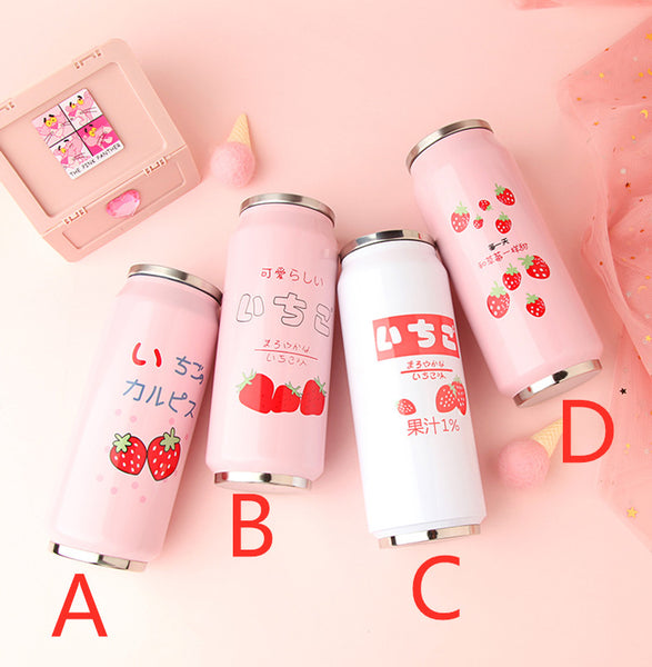 Strawberry Stainless Steel Vacuum Water Bottle JK1706