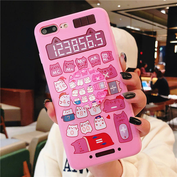 Kawaii Cats and Calculator Phone Case for iphone 6/6s/6plus/7/7plus/8/8P/X/XS/XR/XS Max JK1157
