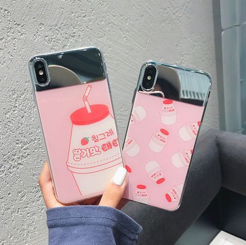 Strawberry Milk Mirror Phone Case for iphone 6/6s/6plus/7/7plus/8/8P/X/XS/XR/XS Max JK1316