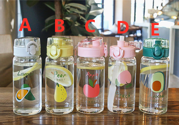 Sweet Fruits Glass Water Bottle JK2308