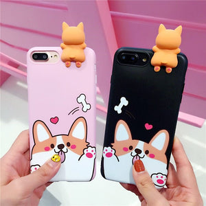 Kawaii Corgi Phone Case for iphone 6/6s/6plus/7/7plus/8/8P/X JK1122