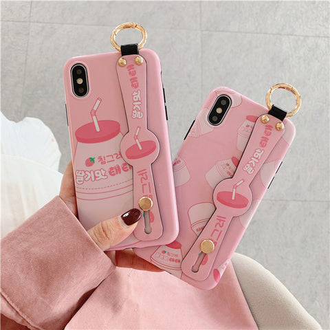 Strawberry Milk Wristband Phone Case for iphone 6/6s/6plus/7/7plus/8/8P/X/XS/XR/XS Max JK1636