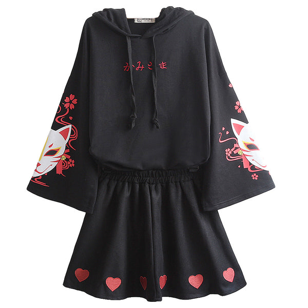 Fashion Black Fox Hoodie and Skirt Set JK2024