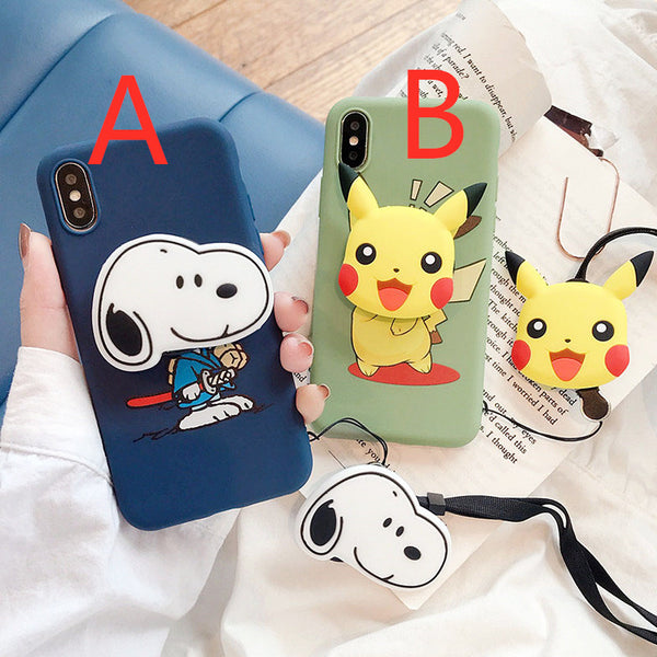 Kawaii Pikachu and Snoopy Phone Case for iphone 6/6s/6plus/7/7plus/8/8P/X/XS/XR/XS Max JK1723