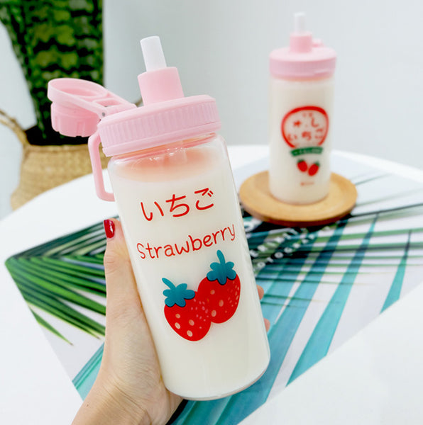 Fashion Strawberry Glass Water Bottle  JK1518