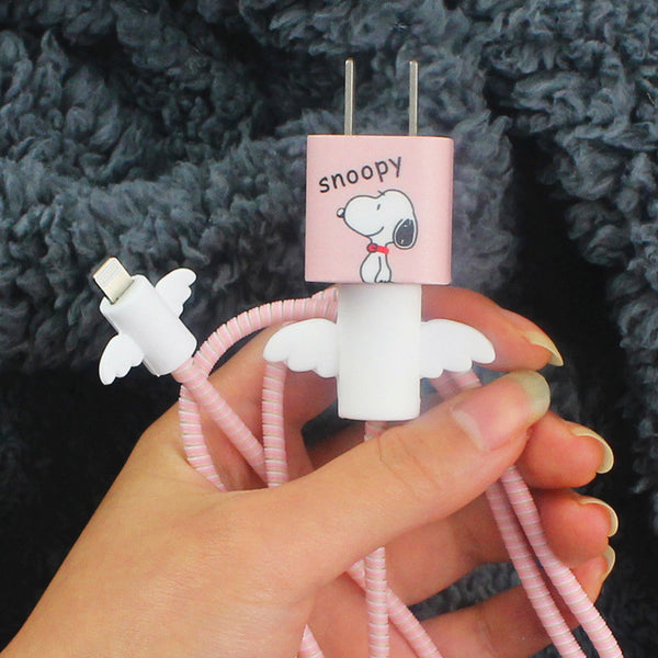Snoopy  Iphone Charger Stickers and Date Wire Protector  JK1088