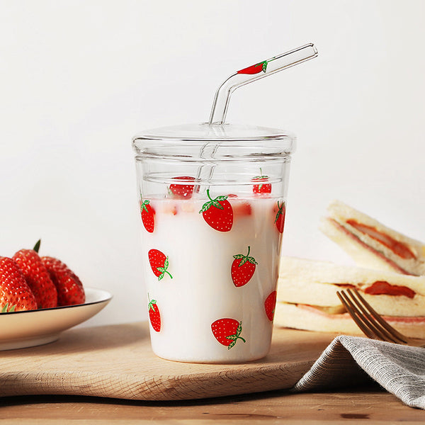 Cute Strawberry Glass Water Cup JK1731