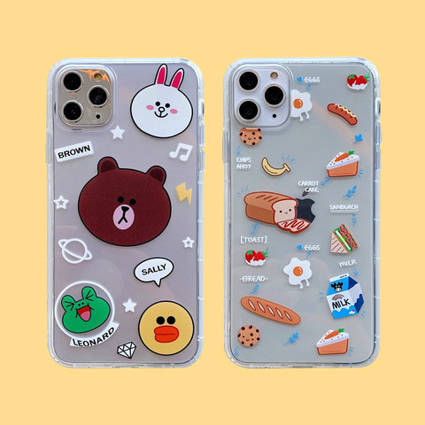 Bear and Foods Phone Case for iphone7/7plus/8/8P/X/XS/XR/XS Max/11/11 pro/11 pro max JK1969
