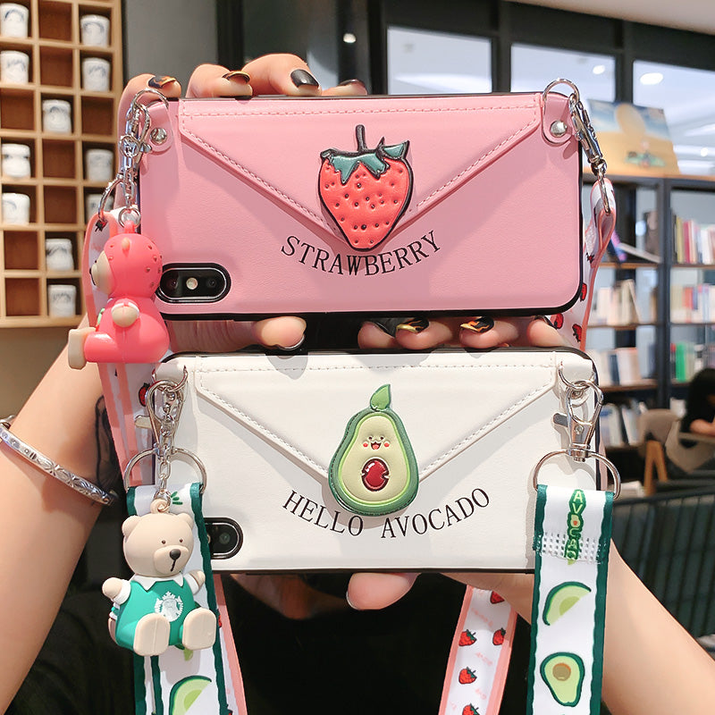 Avocado and Strawberry Phone Case for iphone 6/6s/6plus/7/7plus/8/8P/X/XS/XR/XS Max/11/11 pro/11 pro max JK2310