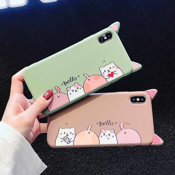 Lovely Cats Phone Case for iphone 6/6s/6plus/7/7plus/8/8P/X/XS/XR/XS Max JK1305