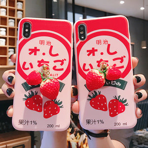 Strawberry Milk Phone Case for iphone 6/6s/6plus/7/7plus/8/8P/X/XS/XR/XS Max JK1808