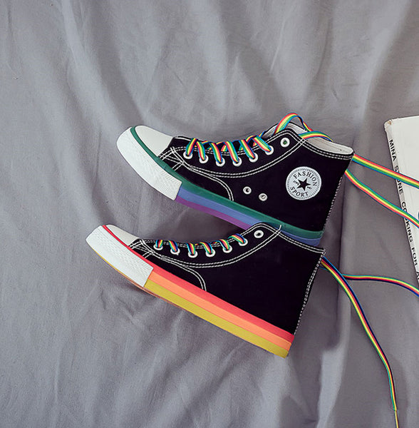Fashion Rainbow Canvas Shoes JK2228