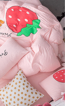 Pink Strawberry Four Piece-suit Bedding JK1572