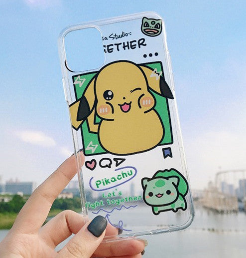 Cute Pikachu Phone Case for iphone 7/7plus/8/8P/X/XS/XR/XS Max/11/11 pro/11 pro max JK1959