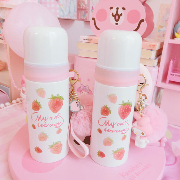 Kawaii Strawberry Stainless Steel Vacuum Water Bottle JK1328