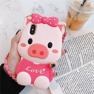 Lovely Pink Pig Phone Case for iphone 6/6s/6plus/7/7plus/8/8P/X/XS/XR/XS Max JK1527
