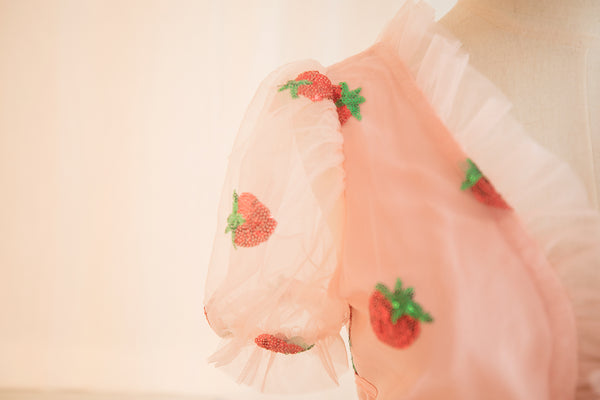 Fashion Strawberry V Collar Dress JK2247