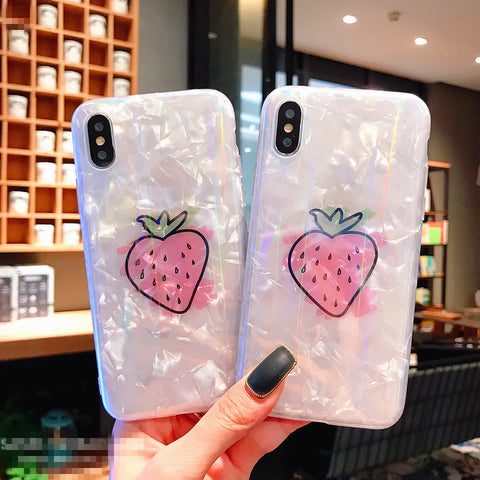 Laser Strawberry Phone Case for iphone 6/6s/6plus/7/7plus/8/8P/X/XS/XR/XS Max JK1231