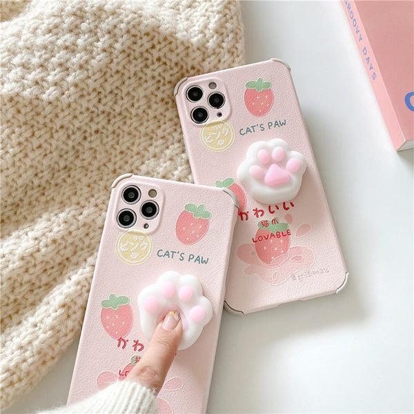 Strawberry Cat Paw Phone Case for iphone7/7plus/8/8P/X/XS/XR/XS Max/11/11 pro/11 pro max/12/12pro/12mini/12pro max JK2724