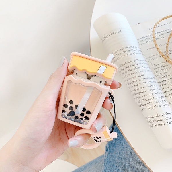 New Style Quicksand Bubble Tea Airpods Protector Case JK1734