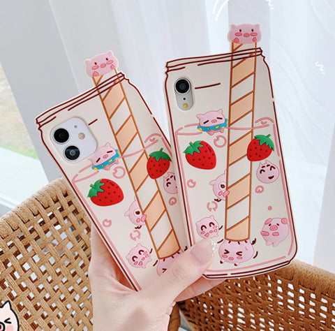 Strawberry Pig Phone Case for iphone 6/6s/6plus/7/7plus/8/8P/X/XS/XR/XS Max/11/11 pro/11 pro max JK2344