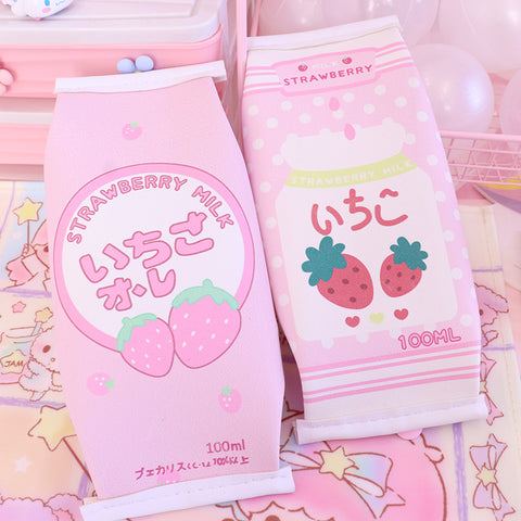 Kawaii Strawberry Milk Stationery Bag  JK1805